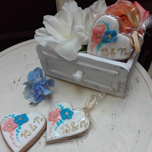 svadobné srdiečka modro-marhuľkové