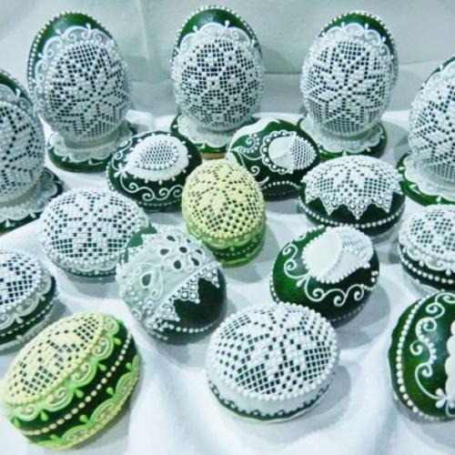 vajíčka v zelenobielom